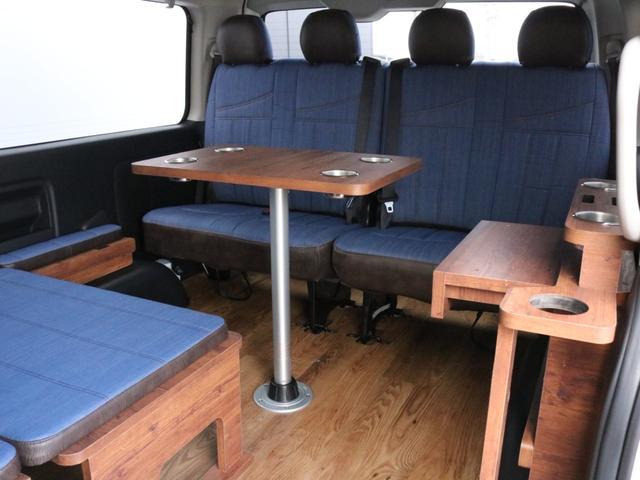 GL ロング FLEXシートアレンジVer1.5デニムカスタム フルフラットベッドキット車中泊対応 テーブルモード 3列目シート跳ね上げ収納可能 床張りフローリング施工 デニム&ウッド調 全席デニムシートカバー(41枚目)
