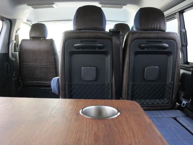 GL ロング FLEXシートアレンジVer1.5デニムカスタム フルフラットベッドキット車中泊対応 テーブルモード 3列目シート跳ね上げ収納可能 床張りフローリング施工 デニム&ウッド調 全席デニムシートカバー(42枚目)