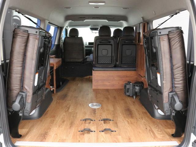 GL ロング FLEXシートアレンジVer1.5デニムカスタム フルフラットベッドキット車中泊対応 テーブルモード 3列目シート跳ね上げ収納可能 床張りフローリング施工 デニム&ウッド調 全席デニムシートカバー(52枚目)