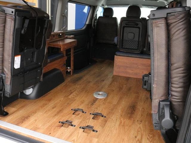 GL ロング FLEXシートアレンジVer1.5デニムカスタム フルフラットベッドキット車中泊対応 テーブルモード 3列目シート跳ね上げ収納可能 床張りフローリング施工 デニム&ウッド調 全席デニムシートカバー(54枚目)