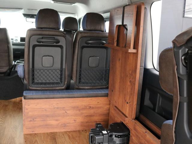 GL ロング FLEXシートアレンジVer1.5デニムカスタム フルフラットベッドキット車中泊対応 テーブルモード 3列目シート跳ね上げ収納可能 床張りフローリング施工 デニム&ウッド調 全席デニムシートカバー(55枚目)