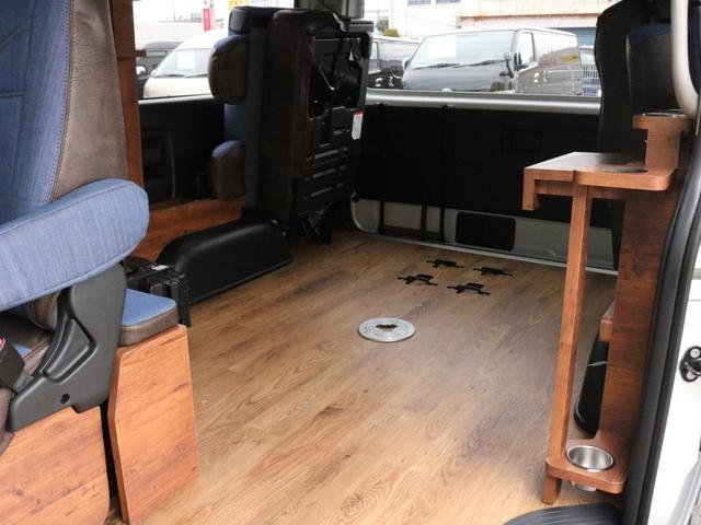 GL ロング FLEXシートアレンジVer1.5デニムカスタム フルフラットベッドキット車中泊対応 テーブルモード 3列目シート跳ね上げ収納可能 床張りフローリング施工 デニム&ウッド調 全席デニムシートカバー(58枚目)