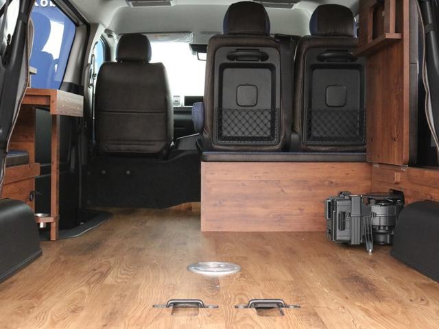 GL ロング FLEXシートアレンジVer1.5デニムカスタム フルフラットベッドキット車中泊対応 テーブルモード 3列目シート跳ね上げ収納可能 床張りフローリング施工 デニム&ウッド調 全席デニムシートカバー(59枚目)