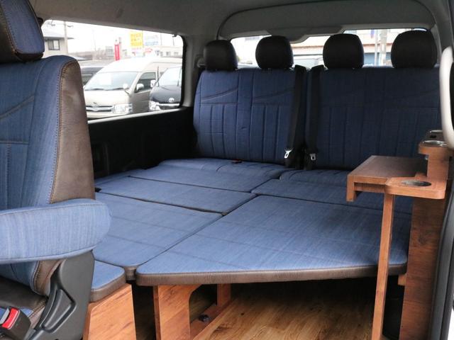 GL ロング FLEXシートアレンジVer1.5デニムカスタム フルフラットベッドキット車中泊対応 テーブルモード 3列目シート跳ね上げ収納可能 床張りフローリング施工 デニム&ウッド調 全席デニムシートカバー(61枚目)