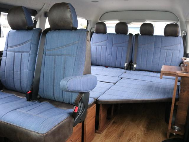 GL ロング FLEXシートアレンジVer1.5デニムカスタム フルフラットベッドキット車中泊対応 テーブルモード 3列目シート跳ね上げ収納可能 床張りフローリング施工 デニム&ウッド調 全席デニムシートカバー(62枚目)
