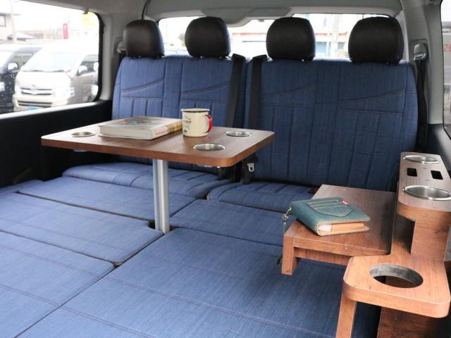 GL ロング FLEXシートアレンジVer1.5デニムカスタム フルフラットベッドキット車中泊対応 テーブルモード 3列目シート跳ね上げ収納可能 床張りフローリング施工 デニム&ウッド調 全席デニムシートカバー(63枚目)