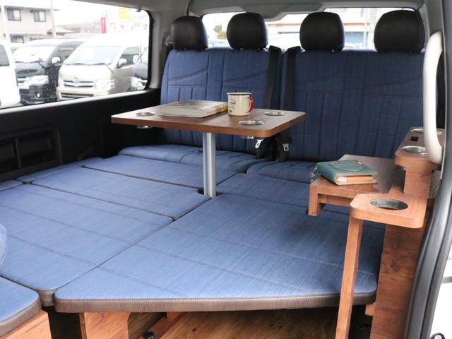 GL ロング FLEXシートアレンジVer1.5デニムカスタム フルフラットベッドキット車中泊対応 テーブルモード 3列目シート跳ね上げ収納可能 床張りフローリング施工 デニム&ウッド調 全席デニムシートカバー(64枚目)