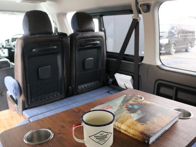 GL ロング FLEXシートアレンジVer1.5デニムカスタム フルフラットベッドキット車中泊対応 テーブルモード 3列目シート跳ね上げ収納可能 床張りフローリング施工 デニム&ウッド調 全席デニムシートカバー(66枚目)