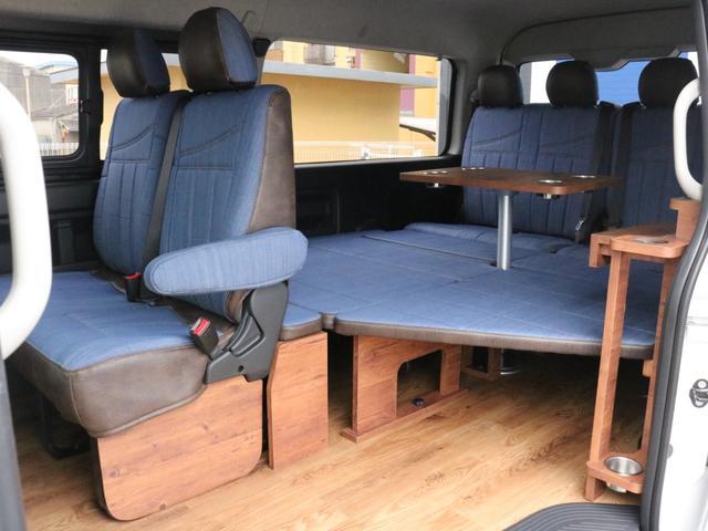 GL ロング FLEXシートアレンジVer1.5デニムカスタム フルフラットベッドキット車中泊対応 テーブルモード 3列目シート跳ね上げ収納可能 床張りフローリング施工 デニム&ウッド調 全席デニムシートカバー(70枚目)