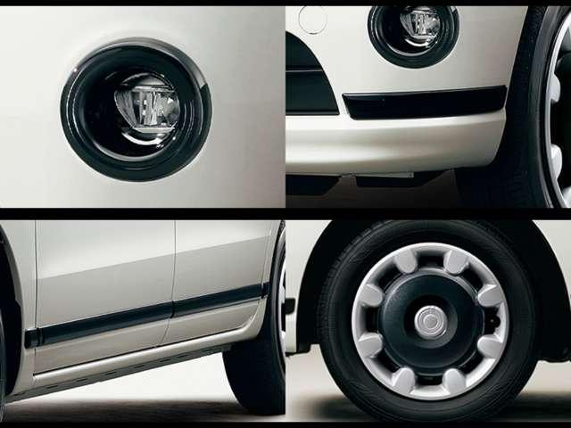 """""""ブラックアクセント リミテッド SA III""""特別装備 LEDフォグ(ブラックリング付)、バンパーモール(フロント/リヤ)、サイドモール、14AW2トーンフルホイールキャップ(キャンバスエンブレム)"""