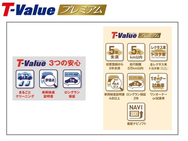 全レクサス車と、トヨタ車(ミディアムクラス以上)を対象として、T-Valueに、さらに厳しい7項目の基準をプラスして厳選した高品質中古車。