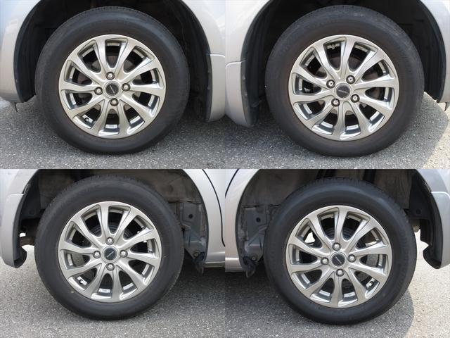 社外アルミホイールが装着されています。タイヤブランドは、ブリヂストンです。タイヤサイズは、175/65R14です。残り溝はフロントが6mm、リアが6mmです。