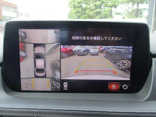 車両の前後左右に備えた敬4つのカメラを活用し、車両を上方から俯瞰したようなトップ映像のほか、前方・後方・左右両サイドの映像をセンターディスプレイに表示します。