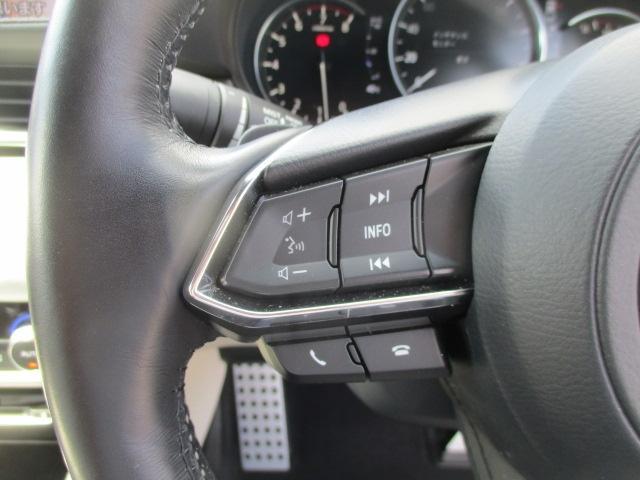 運転中にオーディオ操作が可能なステアリングスイッチ付き。ハンズフリーも手元で操作。