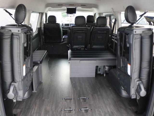 GL ロング 新車/車中泊仕様Ver1 フルセグナビ/フリップダウン Delfino Lineフロントエアロ/オーバーフェンダー アーバンワイルド17インチAW グッドイヤーナスカータイヤ プレステージLEDテール(6枚目)