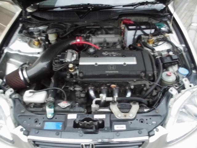 SiR オールペイントシャンパンラメ 純正5速 KTS極低車高調 社外アッパーアーム RAYS16インチAW USヘッドライトチャンバーエアクリーナー ZEROFIGHTERステンエキマニ 破損ブーツ類整備済(12枚目)
