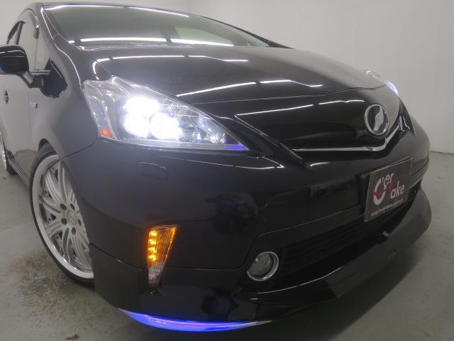 S ツインパノラマルーフ 3眼LEDヘッドライト フルエアロ TEIN車高調 WORK19インチAW 9インチナビBカメラ地デジ 黒革調シート ウッドコンビハンドル クルーズC ドラレコ ETC(5枚目)