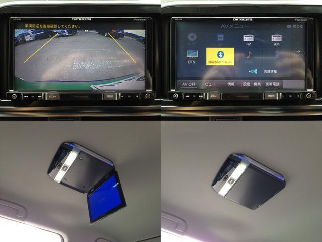 【左上&右上】フルセグTV、BTオーディオ、音楽再生、DVD再生、バックカメラなど高機能で人気の、ストラーダSDナビTV  【左下&右下】LEDルームランプ搭載・フリップダウンモニター