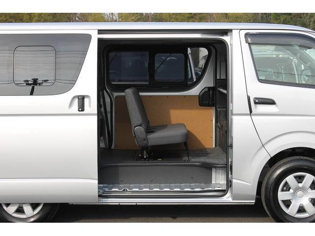 左右どちらからも乗降が可能な両側スライドドア(スライド式リヤサイドガラス付)です。荷物の出し入れにも便利です。