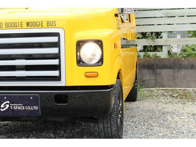 PA ブギーライダー GMCスクールバス仕様 マットブラック15インチAW 内装カラーリメイク オリジナルシートカバー FAKERステアリング CarrozerriaメモリーナビDTVBluethooth(10枚目)
