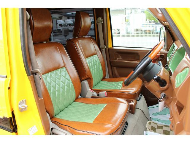 PA ブギーライダー GMCスクールバス仕様 マットブラック15インチAW 内装カラーリメイク オリジナルシートカバー FAKERステアリング CarrozerriaメモリーナビDTVBluethooth(15枚目)