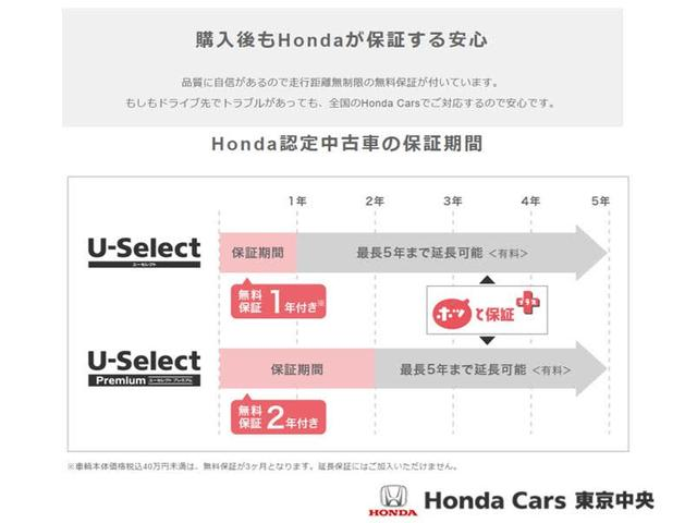 U-Selectは3つの安心をお約束します。購入後もホンダが保証(1年、プレミアムは2年)をしますので安心してお乗り頂けます。