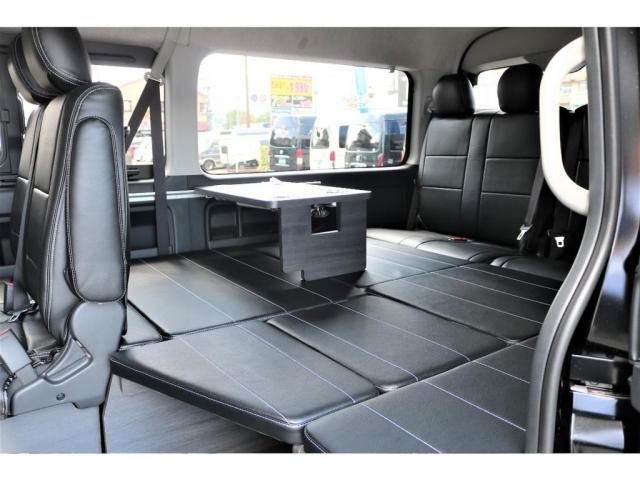 GL フレックスオリジナル内装架装Ver1木目柄フロア床張りフルセグ7インチナビフリップダウンモニターHDMIソケットUSB充電ソケットシートカバーローダウンアルミホイールグッドイヤーナスカータイヤ(7枚目)