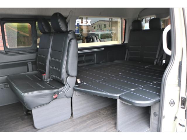 GL フレックスオリジナル内装架装Ver1木目柄フロア床張りフルセグ7インチナビフリップダウンモニターHDMIソケットUSB充電ソケットシートカバーローダウンアルミホイールグッドイヤーナスカータイヤ(51枚目)