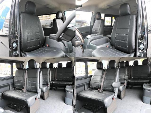 GL ロング 新車ハイエースワゴンGLブラックスシーリーズアルパインフルセグ11インチSDナビHDMIソケットミラーリングDELF01アルミホイールGOODYEARナスカータイヤ18インチオリジナルシートカバー(8枚目)