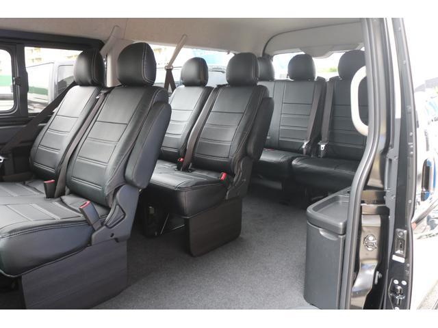 GL ロング 新車ハイエースワゴンGLブラックスシーリーズアルパインフルセグ11インチSDナビHDMIソケットミラーリングDELF01アルミホイールGOODYEARナスカータイヤ18インチオリジナルシートカバー(35枚目)