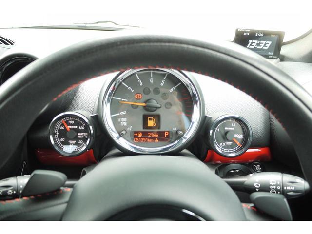 ジョンクーパーワークス クロスオーバー ALL4 社外HDDナビ ブラックレザーシート シートヒーター ブルートゥース バックカメラ アディショナルライト ETC パドルシフト 追加メーター スポーツモード 専用パーツ(12枚目)