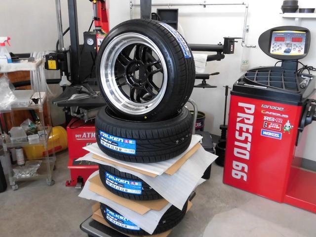 新品深リムアルミホイ-ル&新品タイヤ! 当社では一本一本丁寧に組み付けしています!タイヤ交換もお任せ下さい!