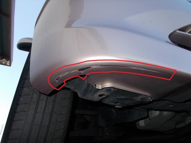 傷/凹み等が複数ございます。ご来店の上、ご確認いただく事をおススメします。(一例画像。フロントバンパー運転席側底面の傷です)