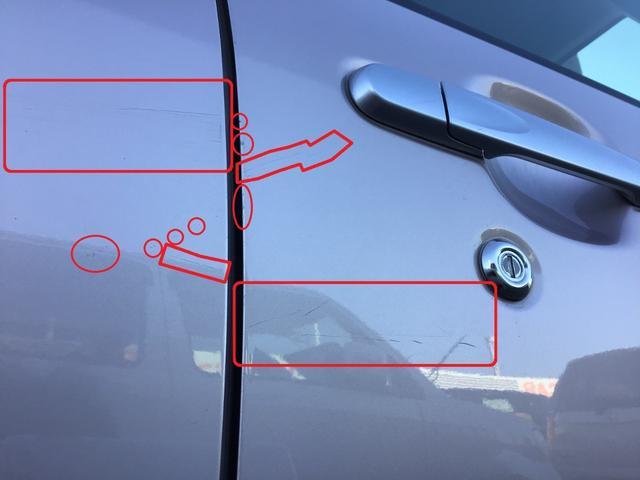傷/凹み等が複数ございます。ご来店の上、ご確認いただく事をおススメします。(一例画像。運転席側フロント及びリヤドアの線傷/小傷です)