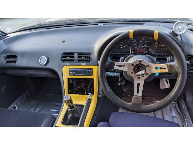 車高調 デフ ワイドフェンダー ロールバー デュアルマフラー 純正エアロ デフィブースト計 強化クラッチ スタンスマジック18インチ S14タービン(19枚目)