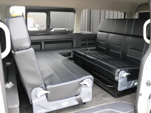 GL 10人乗り3ナンバー登録 ガソリン2WD FLEXオリジナル内装アレンジVer3 ローダウン 17インチAW ナビ ETC 後席モニター 3人掛けシート2脚 フルフラットベッド 床張り(28枚目)