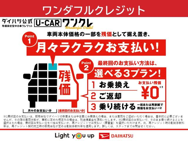 車両本体価格の一部を残価として据え置くことで、月々のお支払いを抑えることが出来ます。詳しくは、当店スタッフまでお気軽にお問い合わせください。