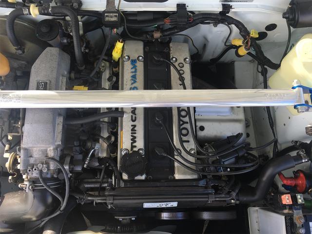 GT APEX 無事故車 ブリッツ車高調 フジツボタコ足デュアルマフラー ボルクTE37V14インチAW クスココントロールアームラテラルロッドタワーバー 燃料タンクデスビダイナモセルTベル交換済み ノーマルルーフ(79枚目)