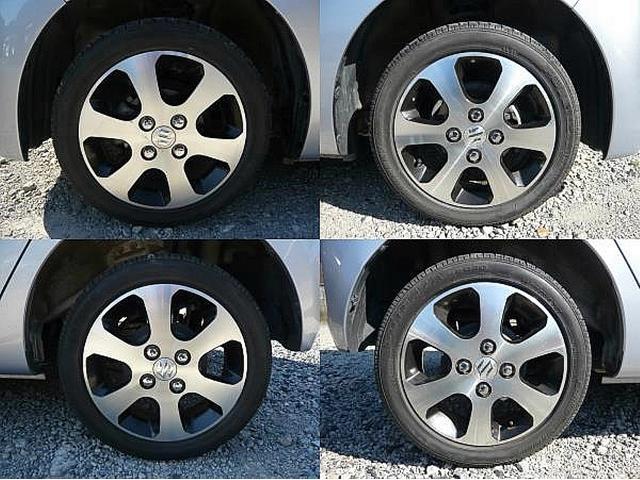 左上:左フロントタイヤ、左下:左リアタイヤ、右上:右フロントタイヤ、右下:右リアタイヤ