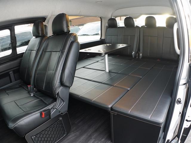 トヨタ ハイエースワゴン GL ベッド&床 テーブル ナビ天吊モニター LEDルーム