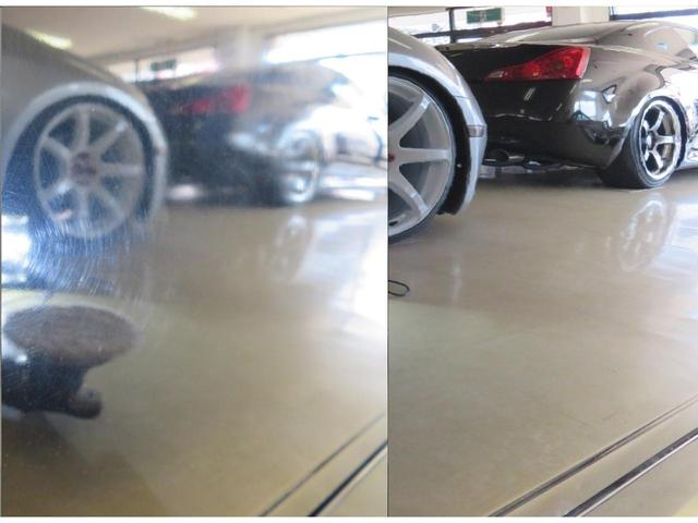 お車を徹底した磨き込から下地作りを行い、ガラスコーティングを行います。画像は磨く前と磨きこんだ後のボディの映り込みを撮影しています。別途オプション