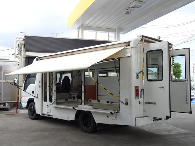 ミクニFFヒーター(軽油燃料) 左自動折戸ドア 左右サイドオーニング リアオーニングは不動 前・後・車内・車載拡声器付き☆インバーター 荷台天窓 荷台天井照明 AC100Vコンセント