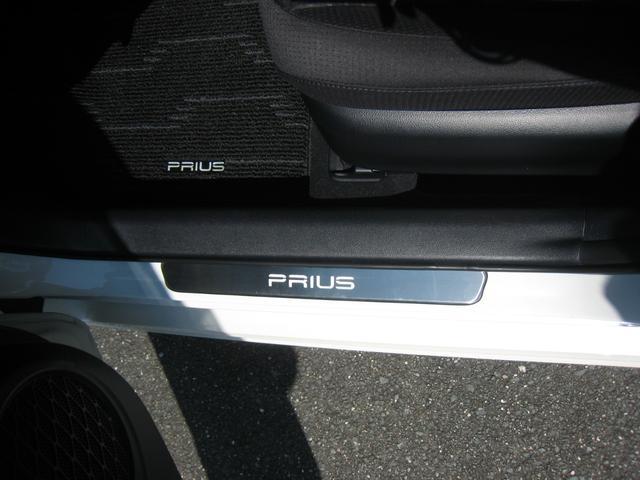 純正追加オプションの「プリウス」ネーム入りのフロントドアのステップスカッフプレート!