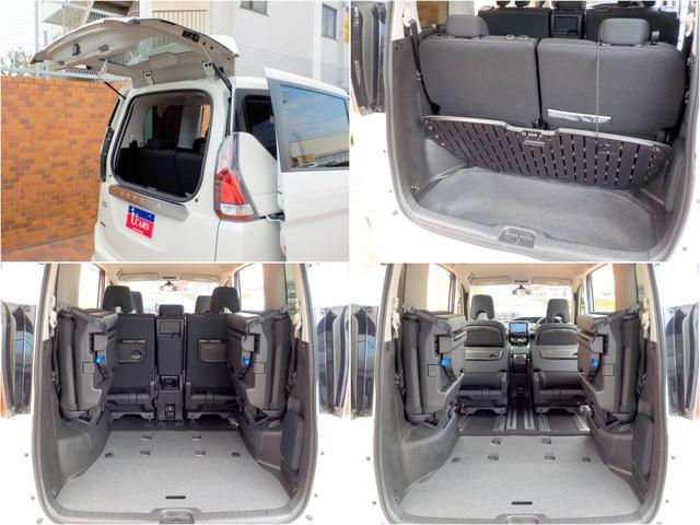 サードシートの跳ね上げや、シート収納は片手でもできるほどラクラク♪大容量ラゲッジアンダーボックス付!さらに狭い場所でも荷物が取りだせて、軽い力で開閉出来るデュアルバックドアも便利です!