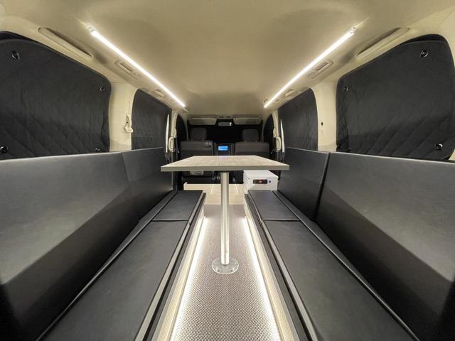 キャンピングカー トランポ 新品架装 車中泊 8ナンバー キャンパー ベッドキット サブバッテリー 走行充電器 USB/DC電源 バンコン 事務室 移動販売車(2枚目)