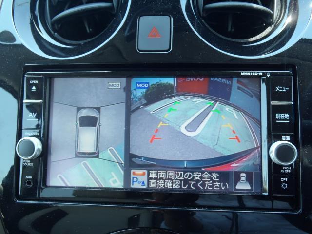 アラウンドビューモニターをナビ画面で見れます。車両の周囲が分かります。