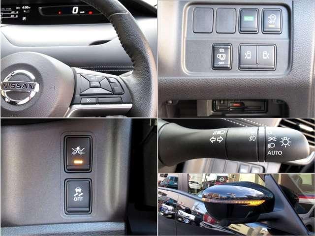 アラウンドビューモニターはバック時にナビ画面に表示。メーター内ディスプレイにスイッチ操作により、フロントビュー、サイドブラインドビューを切替え可能。パーキングアシストはハンドル操作を車がしてくれます。