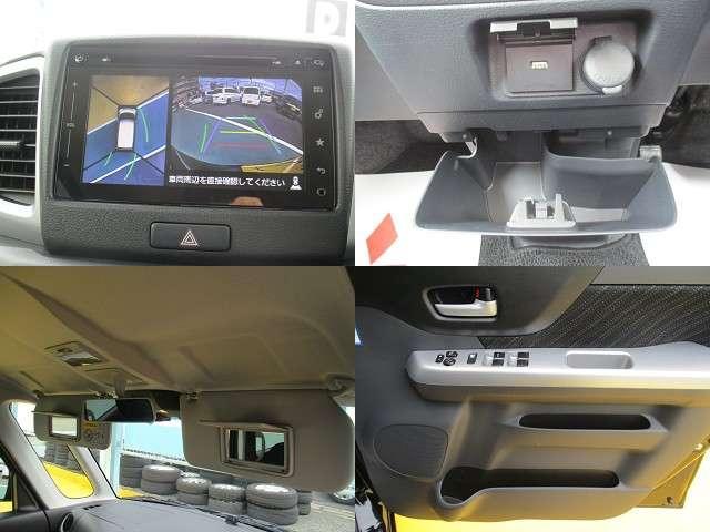 全方位モニターがついているので、車を真上から見たような映像を映し出します。