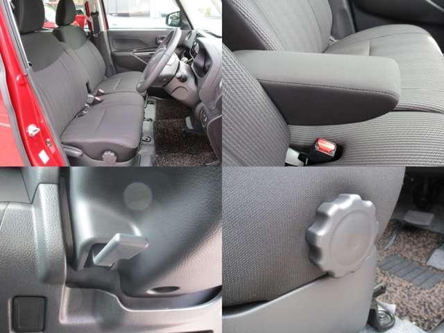 フロントシートはアームレスト付なのでゆったり快適なドライブをお愉しみ下さい!運転席にはシートとステアリングに調節機能が付いておりますので、ドライバーの方の体格に合わせた調節が可能デス♪