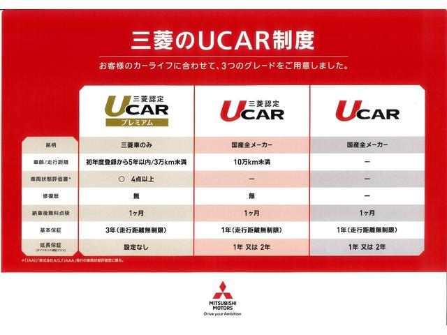 三菱認定UCARプレミアム保証「保証期間3年間・走行距離無制限」がついています。全国の販売会社のサービスネットワークを生かして、旅先や転居先での故障に対しましてもお近くの店舗でサポートが受けられます。